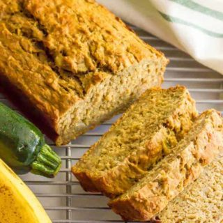 Whole wheat zucchini banana bread is a healthy breakfast or snack that's super light and flavorful (no butter or oil) and a great way to get in some fruit, veggies and whole grains all at once! #zucchini #bananabread #healthysnack #wholewheat