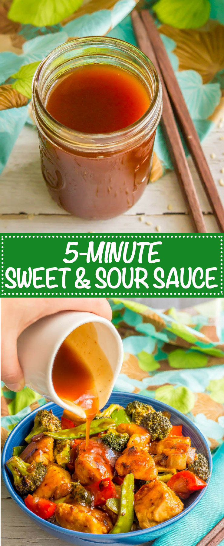 Homemade sweet and sour sauce is a quick and easy, silky smooth version of your takeout favorite. It's just 5 ingredients and 5 minutes - perfect for a weeknight dinner fix! #stirfry #Asiancooking #homemadesauce