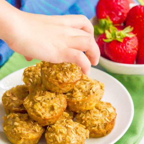 Quinoa banana mini muffins are gluten-free and naturally sweetened and make a perfect wholesome little bite at breakfast, snack time or for school lunch. (And they are just 7 ingredients!) #glutenfree #muffins #muffinrecipes #healthymuffins #quinoa #ripebananas