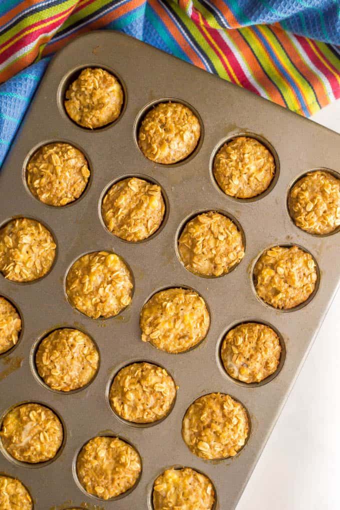 Quinoa banana mini muffins in a tin