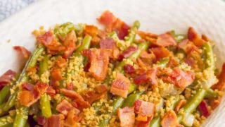 Southern style green beans with bacon and buttery breadcrumbs