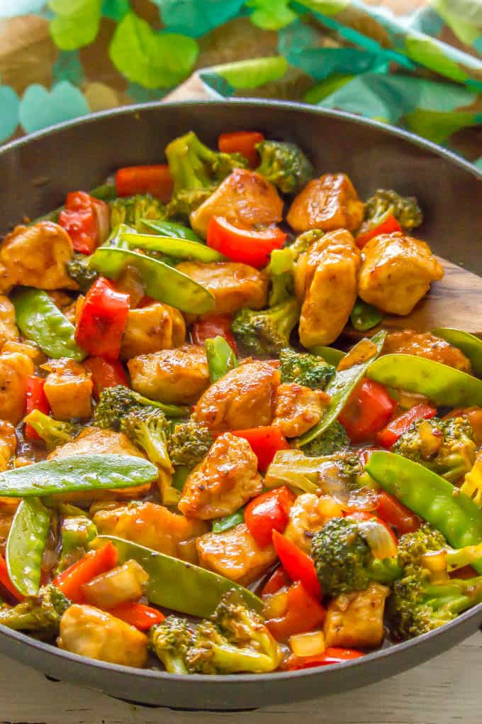 Healthy, easy sweet and sour chicken with veggies in a large skillet