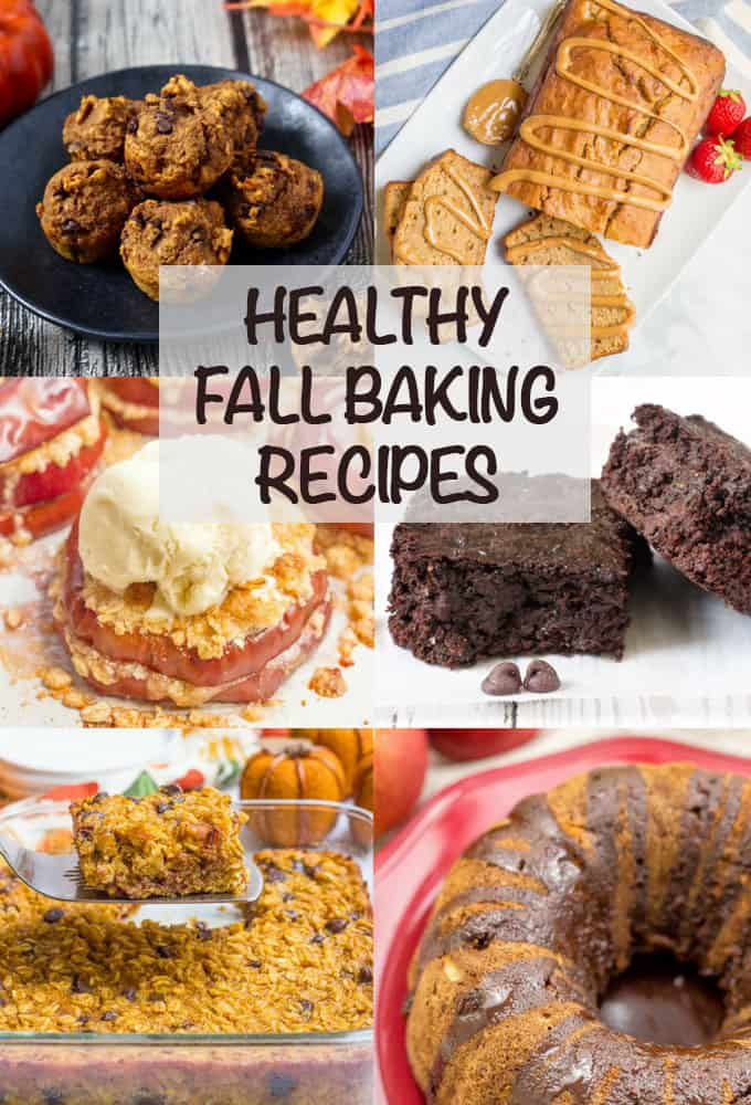 These healthy fall baking favorites include everything from muffins and baked oatmeal to snacks to cookies and cakes. These fall recipes are whole grain and most are naturally sweetened for a wholesome, delicious treat! #fallrecipes #baking #healthybaking #healthydesserts