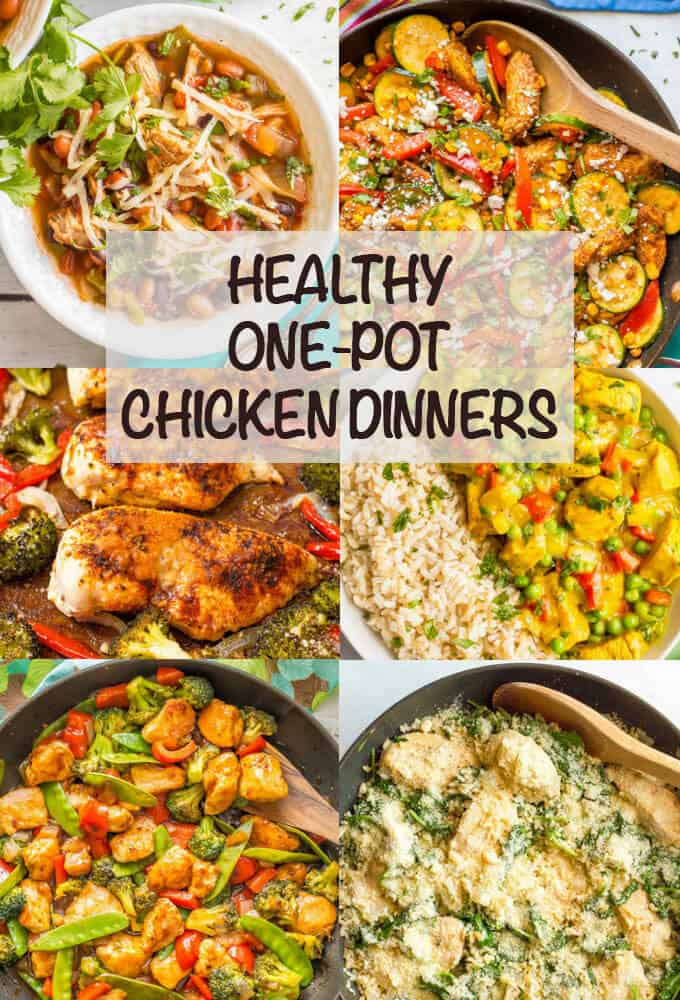 Healthy one-pot chicken dinners is a collection of recipes from one-pot pastas and skillets to easy slow cooker and sheet pan meals to help you get an easy, healthy and delicious dinner on the table any night! #chickendinners #chickenrecipes #onepotmeals #dinner