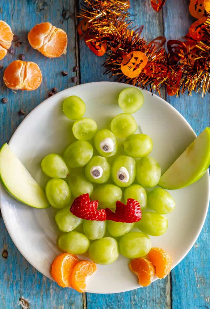 Easy Green Monster Fruit Snack Family Food On The Table