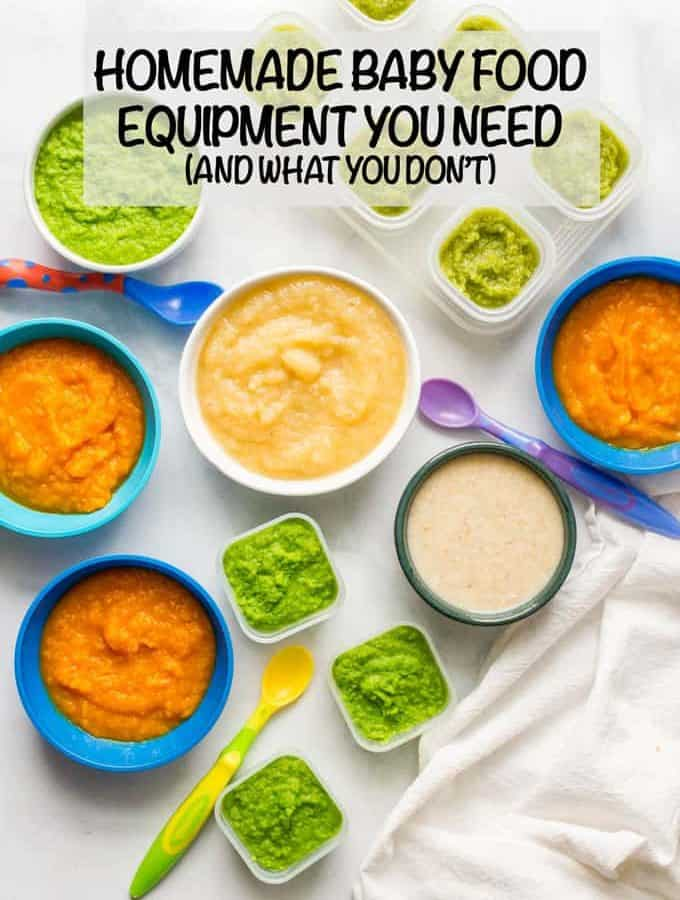 Homemade baby food equipment doesn't mean buying a ton of specialized tools. You just a few kitchen basics and small containers to get started. Check out my favorites! #babyfood #babies #kitchen