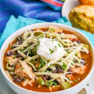 This quick and easy chicken and black bean soup has a great depth of flavor but is ready in about 15 minutes! It's great for a cozy, healthy dinner that'll warm you right up! #chicken #soup #blackbeans #easyrecipe