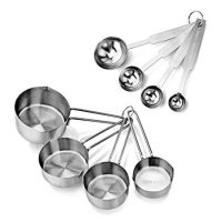 New Star Foodservice 42917 Stainless Steel 4Pcs Measuring Cups And Spoons Combo Set, Silver
