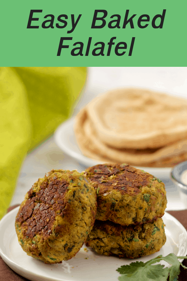 Easy baked falafel and a simple tahini sauce is a bright, fresh Mediterranean dish with great flavors! Serve in a pita or over a salad or grain bowl. #falafel #vegetarian #veganrecipe #glutenfreerecipe