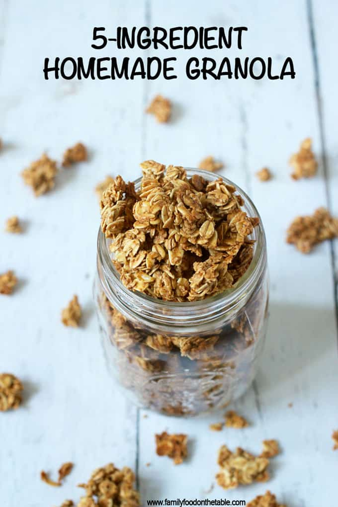 An easy, light homemade granola with just 5 basic ingredients (and no oil needed)! Perfect for breakfast or snacking and great for on-the-go! #granola #breakfast #glutenfree #easyrecipe