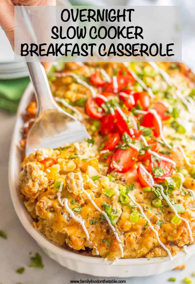 Overnight slow cooker breakfast casserole is perfect for a delicious, hearty and super satisfying make-ahead brunch dish that will have everyone going back for seconds! #slowcooker #crockpot #breakfast #casserole #holidays