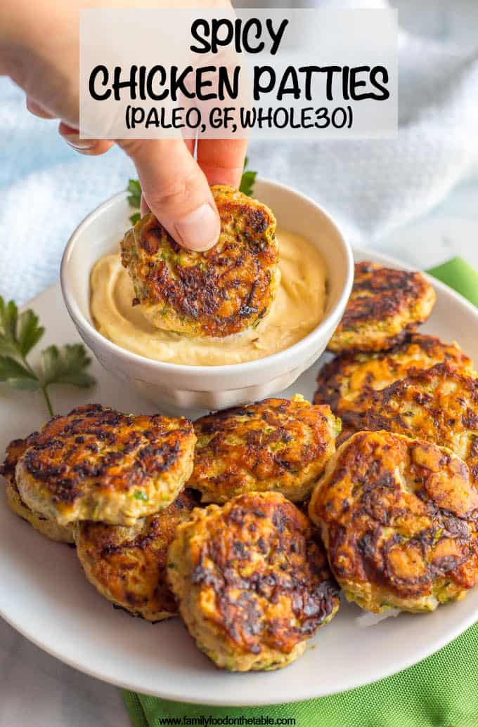 Spicy chicken patties are a really simple, easy recipe and can be used for wraps, salads, sliders, with a sauce or alongside some eggs with breakfast. Paleo, gluten-free and whole 30-approved, these patties will become a new favorite! #whole30recipes #paleorecipes #healthychickenrecipes #simplechickenrecipes #spicychicken #chickenpatties