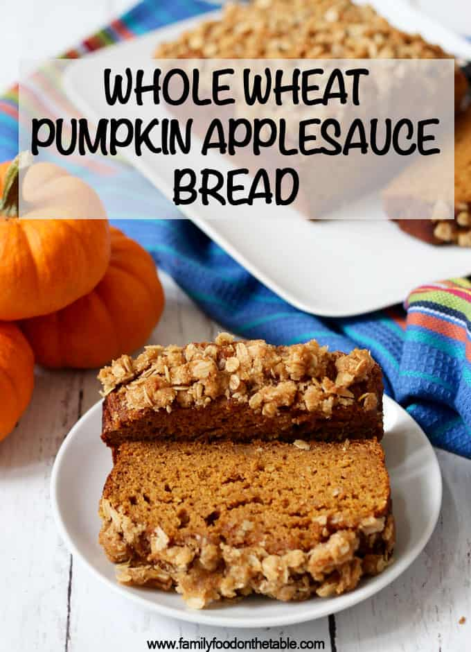 This whole wheat, naturally sweetened pumpkin applesauce bread has a crunchy streusel crust and is perfect for a fun fall breakfast or snack! #pumpkin #bread #baking #breakfast #healthyrecipe