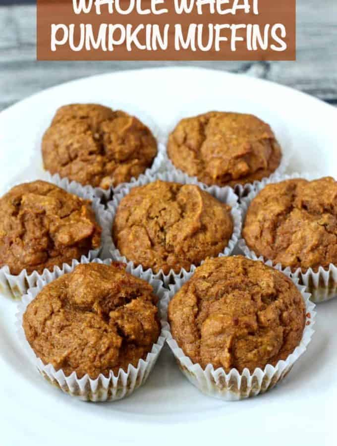 Whole wheat pumpkin muffins are an easy 1-bowl recipe that come out fluffy and moist! They are naturally sweetened and perfect for a healthy fall breakfast or snack! #pumpkin #muffins #fall #breakfast