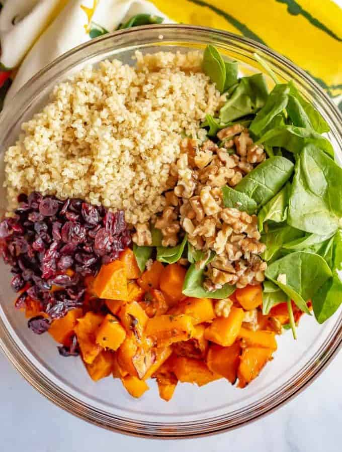 This warm butternut squash salad with quinoa is mixed with spinach, dried cranberries, walnuts and Parmesan and tossed with an apple cider vinaigrette to give it extra flavor! It's great as a side dish or vegetarian main dish. #butternutsquash #quinoa #wintersalad #vegetarian #glutenfree