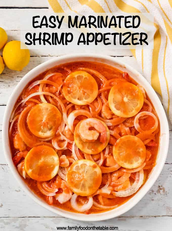 This easy marinated shrimp appetizer is a long-time family favorite recipe! It's perfect to make-ahead for a party and always comes out impressive! #shrimp #appetizer #holidayfood