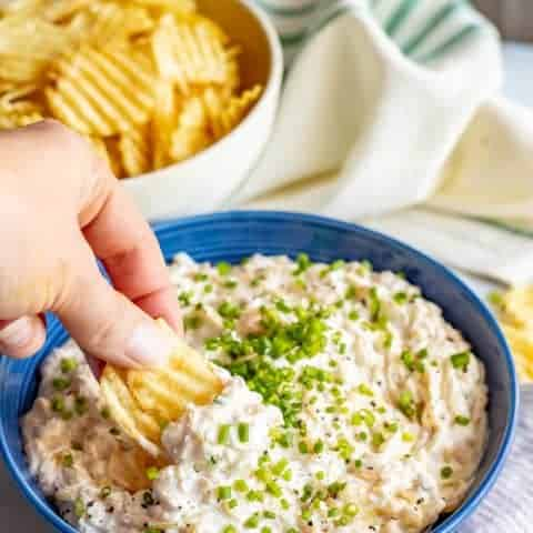 This healthier caramelized onion dip is lightened up but still super rich and creamy and perfect for dipping! Everyone goes crazy for this easy appetizer! #onions #easyappetizer #gamedayeats #snackattack
