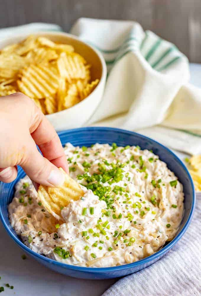 Healthier caramelized onion dip