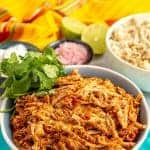 Slow cooker Mexican shredded chicken {3 ingredients}
