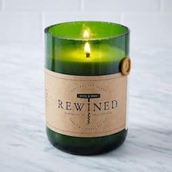 Rewined recycled green wine bottle candle