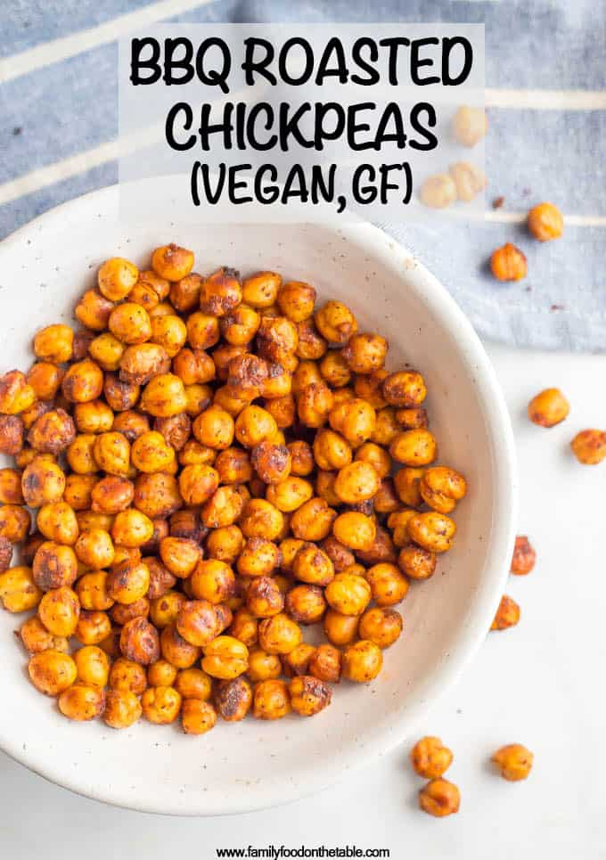 BBQ roasted chickpeas are crunchy, slightly spicy and totally addictive! They are great for a healthy, high-protein snack or to add some crunch to salads and wraps and dips. (Vegan, gluten-free) #chickpeas #healthysnack #vegansnack #glutenfreesnack