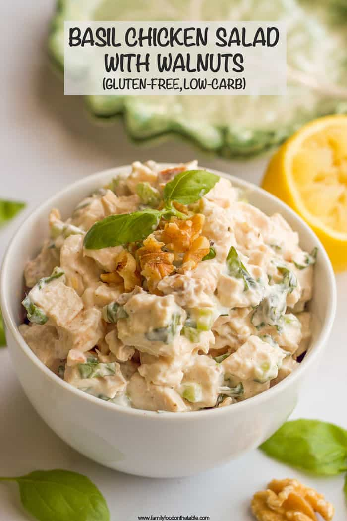 A creamy but healthy basil chicken salad with fresh basil and chopped walnuts. It's great as a sandwich, wrap or lettuce wrap, or paired with crackers! #chickensalad #basil #chickenrecipes #healthylunch #glutenfreelunch #lowcarblunch