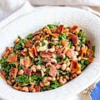 Collard greens and beans with bacon