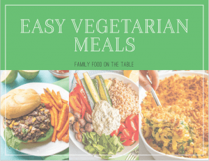 A cover of an e-cookbook with recipes for easy vegetarian meals and photos of 3 vegetarian meals