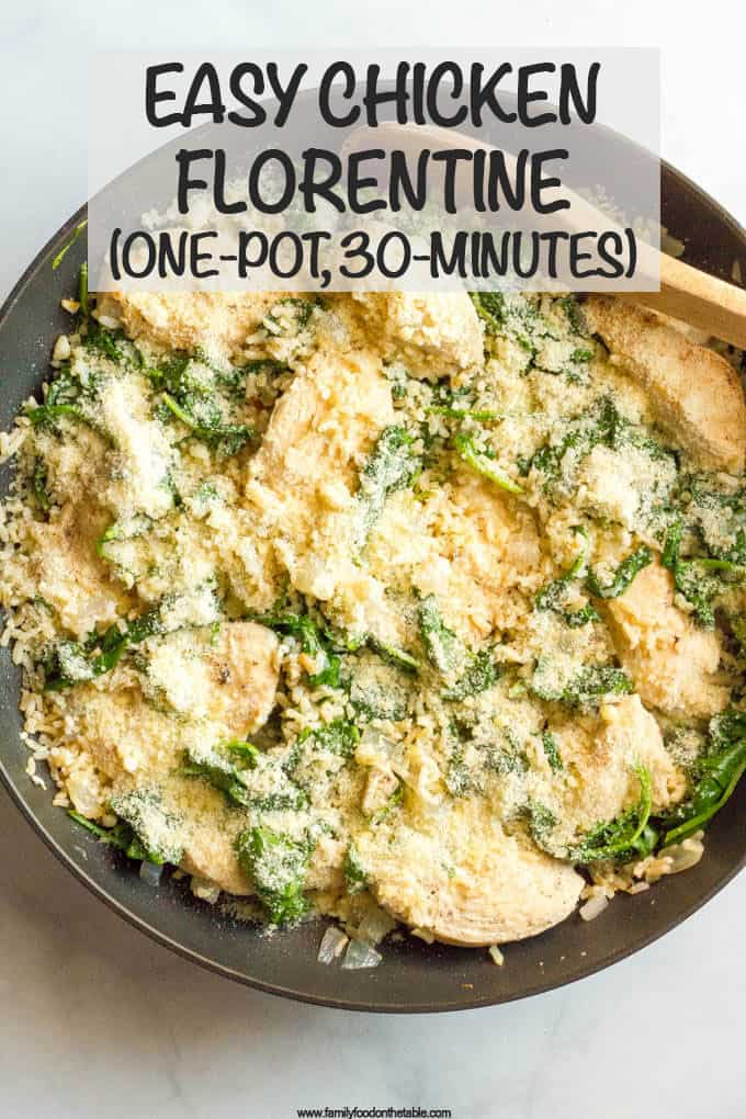 Easy chicken Florentine is a light and flavorful one-pot recipe ready in 30 minutes - perfect for a busy weeknight dinner! #easychickendinner #chickenrecipes #spinach #30minutemeal #onepotrecipe