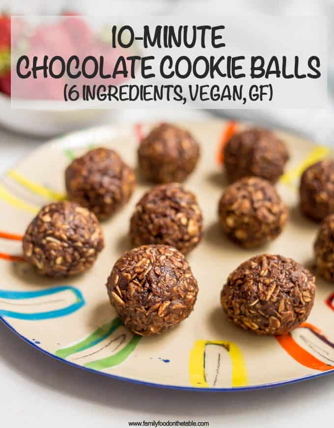 These 10-minute no-bake chocolate cookie balls use just 6 wholesome ingredients for an easy, tasty snack that's also gluten-free and vegan! #chocolate #cookieballs #energyballs #healthysnack #veganrecipes #glutenfreesnack