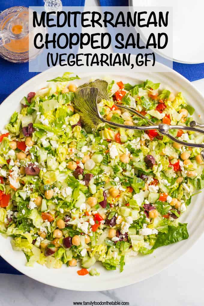 Mediterranean chopped salad is a crunchy, flavorful salad with chick peas, olives and feta cheese - perfect for a vegetarian and gluten-free lunch or light dinner! #choppedsalad #mediterraneansalad #vegetariansalad #saladlove #glutenfree