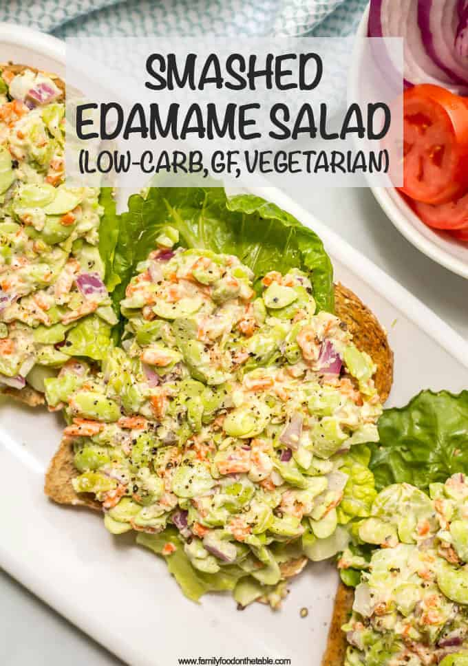 Smashed edamame salad is like the chickpea version but even lighter - perfect on its own or in a sandwich or wrap for an easy, healthy lunch! #vegetarianrecipes #glutenfreerecipes #edamame #healthylunch #lowcarbrecipes