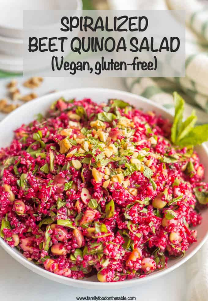 Spiralized beet quinoa salad with spinach, edamame, walnuts and an easy vinaigrette is a fresh, veggie-packed salad that's perfect for a healthy lunch or as a side for dinner. (V, GF) #spiralizer #quinoa #salad #vegan #glutenfree