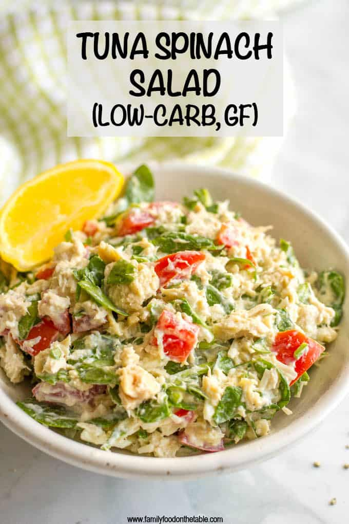 Tuna spinach salad with tomatoes and mozzarella is a light, fresh and healthy lunch ready in just 10 minutes! Serve it as a salad, in a wrap, with crackers or as an open-faced melt! #tunarecipes #tunasalad #healthylunch #lowcarb #glutenfreelunch