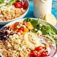 Vegetarian Greek grain bowls