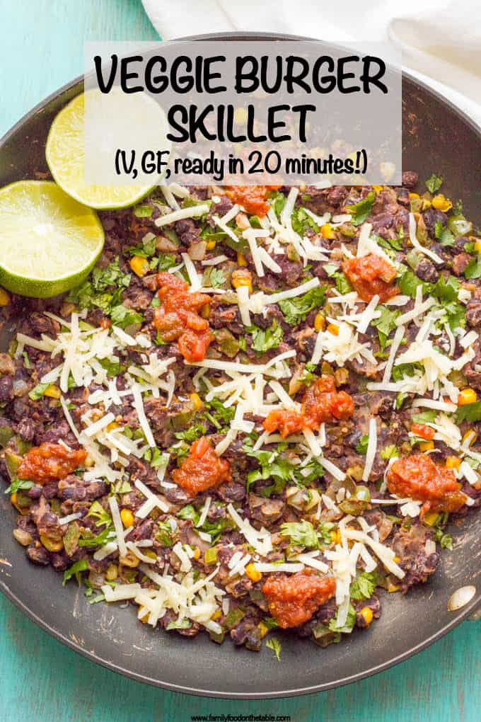 Veggie burger scramble is a quick and easy one-pan dinner that's vegan, gluten free and ready in about 20 minutes! Serve as is, in a tortilla or pita, as lettuce wraps or on a bun. #veggieburger #veganrecipes #glutenfreerecipes #vegetariandinner #meatlessMonday #20minutemeal