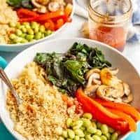 Warm Asian quinoa power bowls (V, GF)