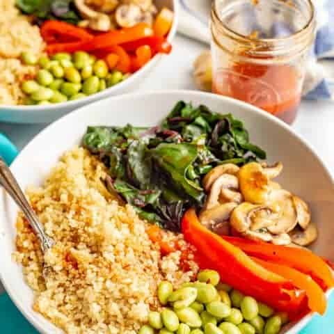 Warm Asian quinoa power bowls (V, GF)