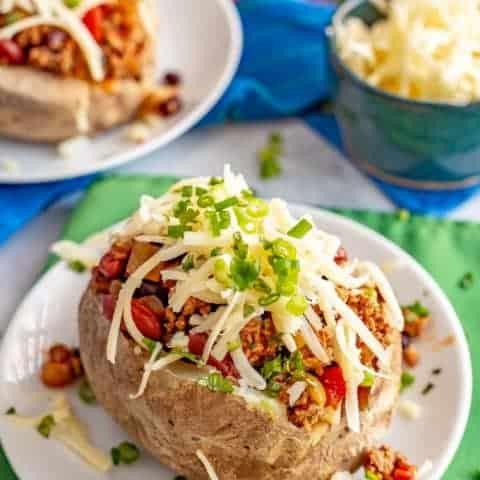 Loaded chili stuffed baked potatoes