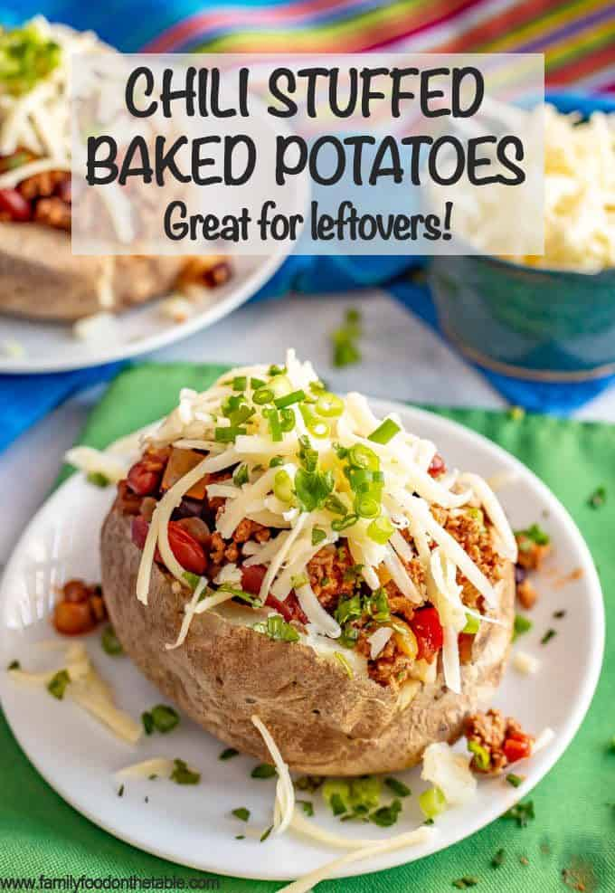 Loaded chili stuffed baked potatoes are the perfect way to use up leftover chili! Tender, fluffy potatoes are filled with warm chili and topped with all your favorite toppings. #chili #potatoes #bakedpotatoes #stuffedpotatoes #easydinner
