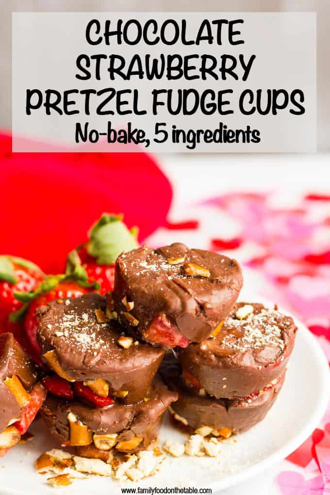 Chocolate strawberry pretzel fudge cups are an easy, no-bake dessert with just 5 ingredients! Perfect for Valentine's Day or any time you need a sweet treat! #fudge #chocolatelover #nobakedessert #easydessert