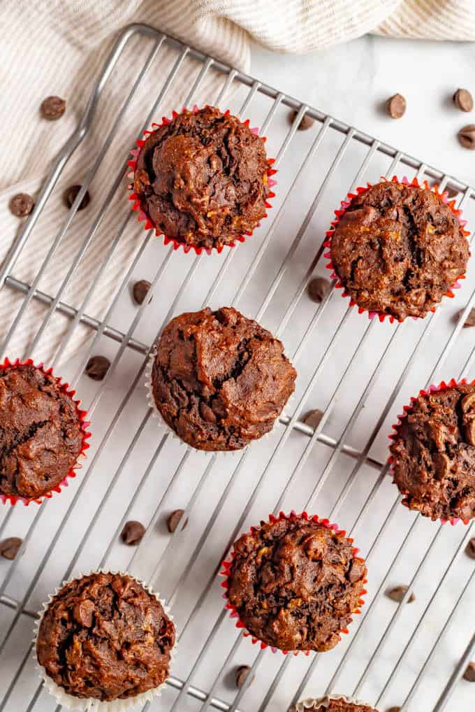 Double chocolate banana muffins are moist, full of melty chocolate chips and perfect for snacking! They're also whole wheat and naturally sweetened, with no added sugar. #muffins #chocolatelover #bananachocolate #ripebananas