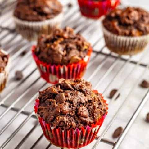 Healthy double chocolate banana muffins