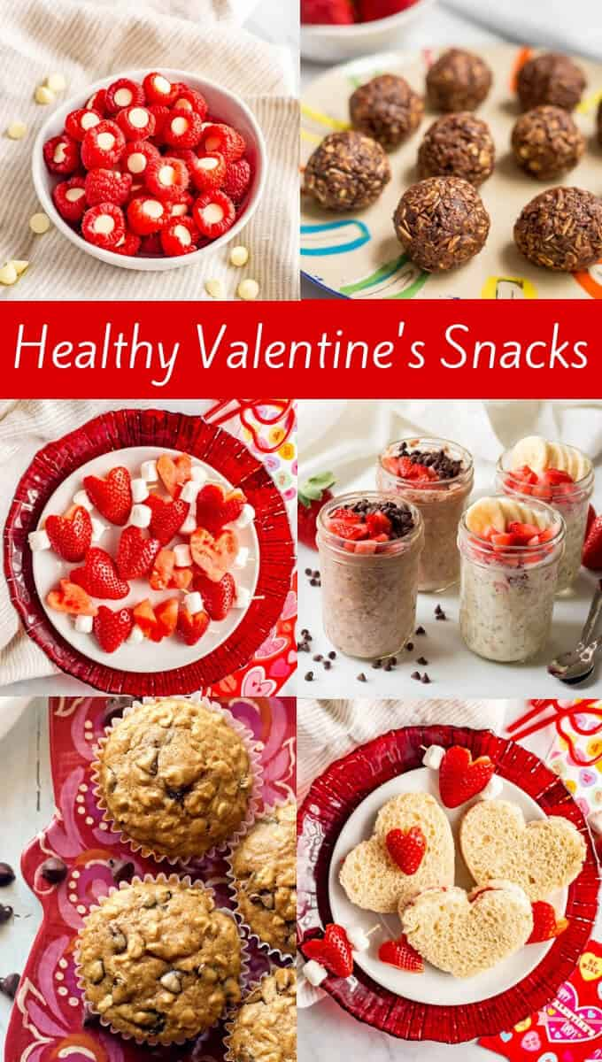 Check out these healthy Valentine's Day snacks for kids of all ages that are easy to make but fun and festive! These 33 ideas will take you from breakfast all the way through to dessert! #ValentinesDay #healthysnacks #kidssnacks