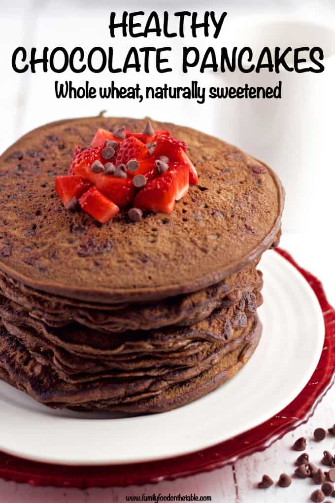 These healthy chocolate pancakes are whole wheat, naturally sweetened and made without butter or oil. They're great for a fun and special breakfast!