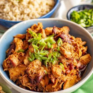 Crock pot honey garlic chicken served in a bowl with green onions sprinkled on top