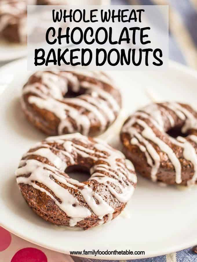 Whole wheat chocolate baked donuts have double the chocolate and none of the guilt! They come together quickly and make for a super fun, healthy breakfast! Serve with an easy vanilla glaze, Nutella or peanut butter frosting. #donuts #chocolatebreakfast #chocolatelover #funbreakfast #valentinesday