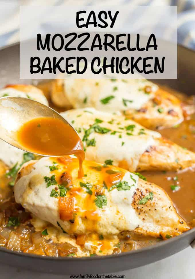 Easy mozzarella baked chicken has just a few simple ingredients but BIG flavor! It's warm and cheesy, requires just 6 ingredients and is ready in just 25 minutes, making it perfect for a quick dinner everyone will love! #easychickenrecipes #quickchickendinners #mozzarellachicken #easybakedchicken