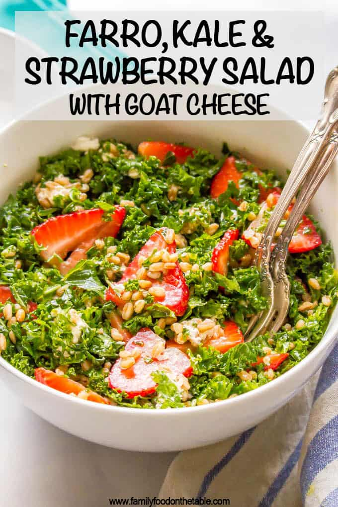 Farro, kale and strawberry salad with goat cheese is a delicious combination with bright, fresh flavors and tons of great texture. It's perfect for a light lunch or as a side salad with dinner. #farrosalad #kalesalad #veggiesalad #healthysalad