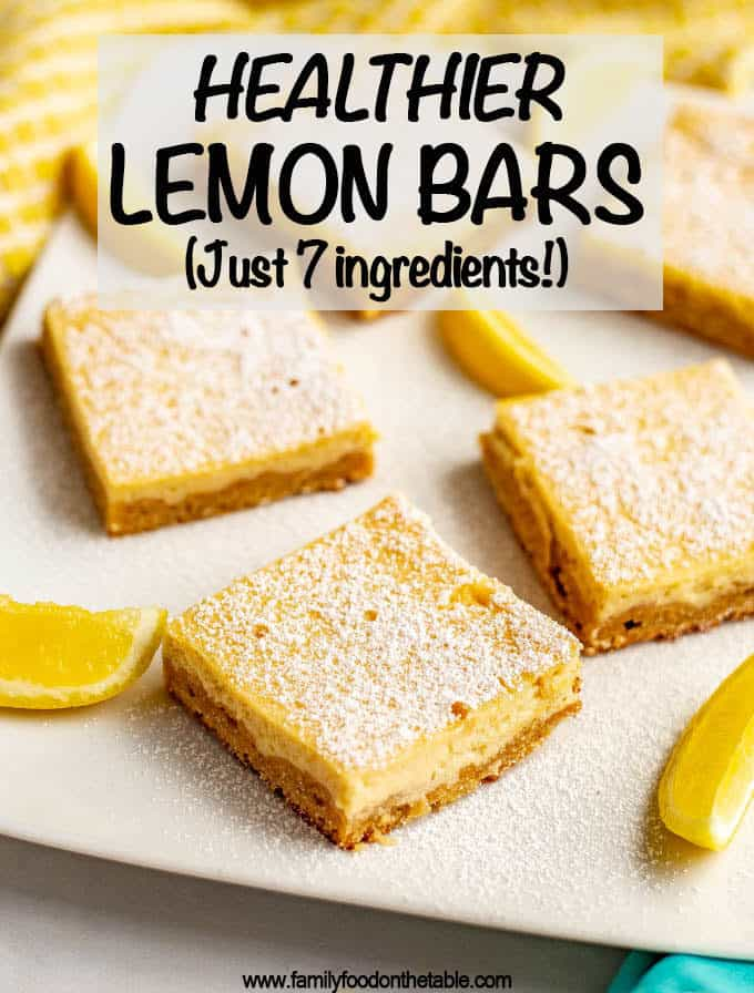 Healthy lemon bars have a shortbread crust and a silky smooth slightly sweet, slightly tart creamy lemon filling on top. These bars are whole wheat and naturally sweetened - and just 7 ingredients! #lemonbars #lemonsquares #lemon #dessert
